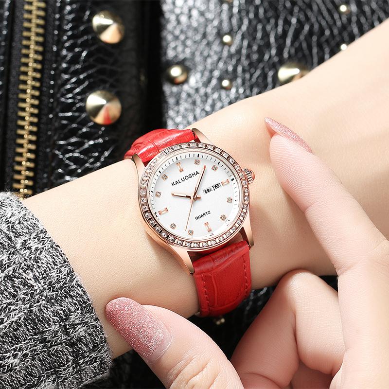 2020新款手表女士学生韩版网红休闲 时尚潮流防水皮带石英表ins风