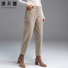 Plush striped flannelette children's 2019 new autumn and winter Harun pants casual loose nine point corduroy pants radish pants