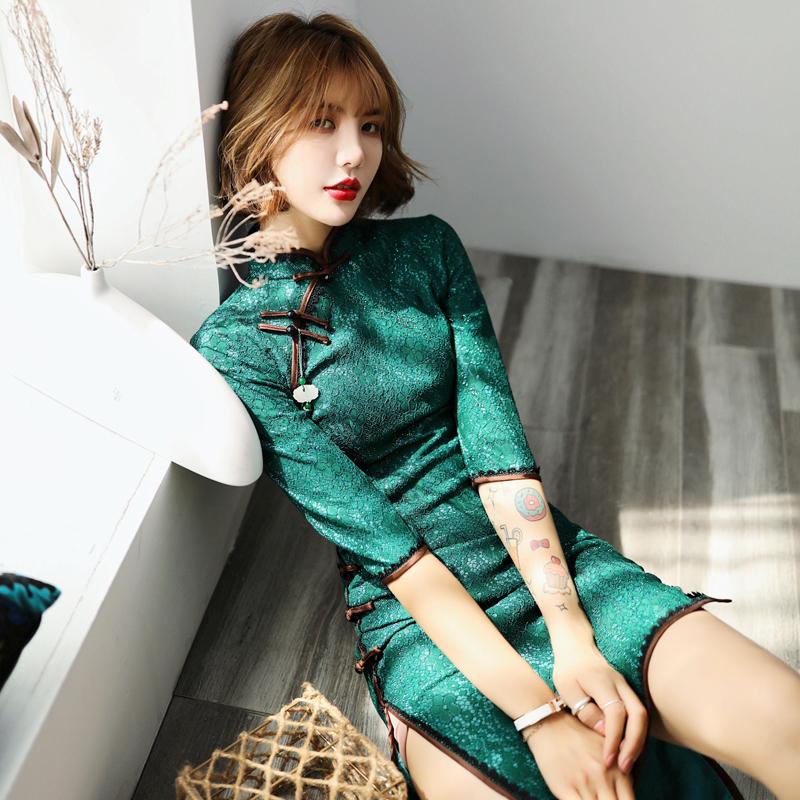 158.00元包邮改良版旗袍2019新款中国风连衣裙