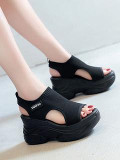 凉鞋女仙女风2020年夏季新款时尚百搭厚底坡跟松糕罗马女鞋ins潮