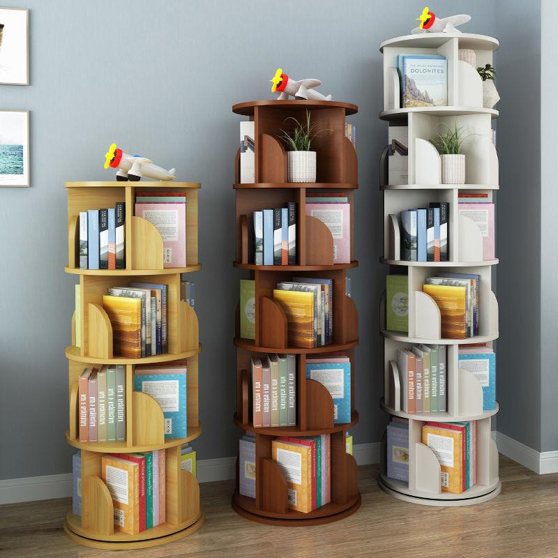 旋转书架360度儿童学生落地书柜简约多层大容量省空间客厅置物架