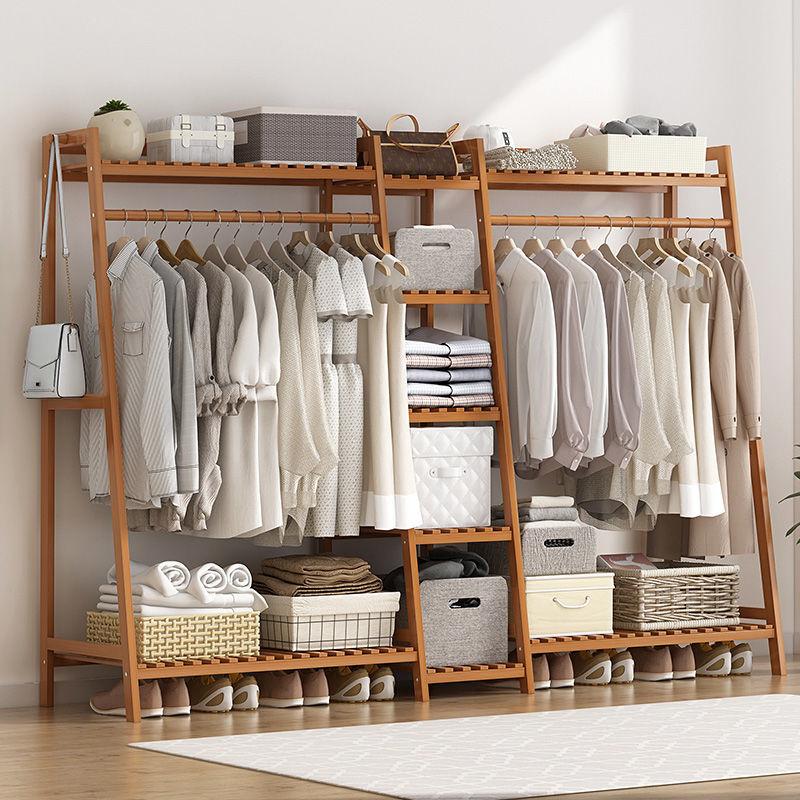 挂衣架落地置物架卧室简易衣柜收纳架实木衣帽架多功能挂衣服架子