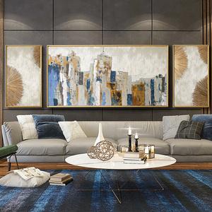 都多美式轻奢纯手绘油画客厅三联沙发背景墙挂画城市装饰画壁画