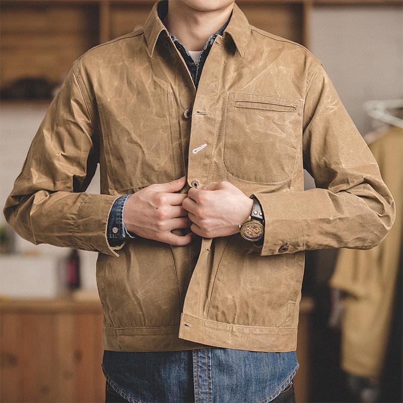 马登工装 日系复古重磅油蜡帆布夹克阿美咔叽经典复刻修身外套男