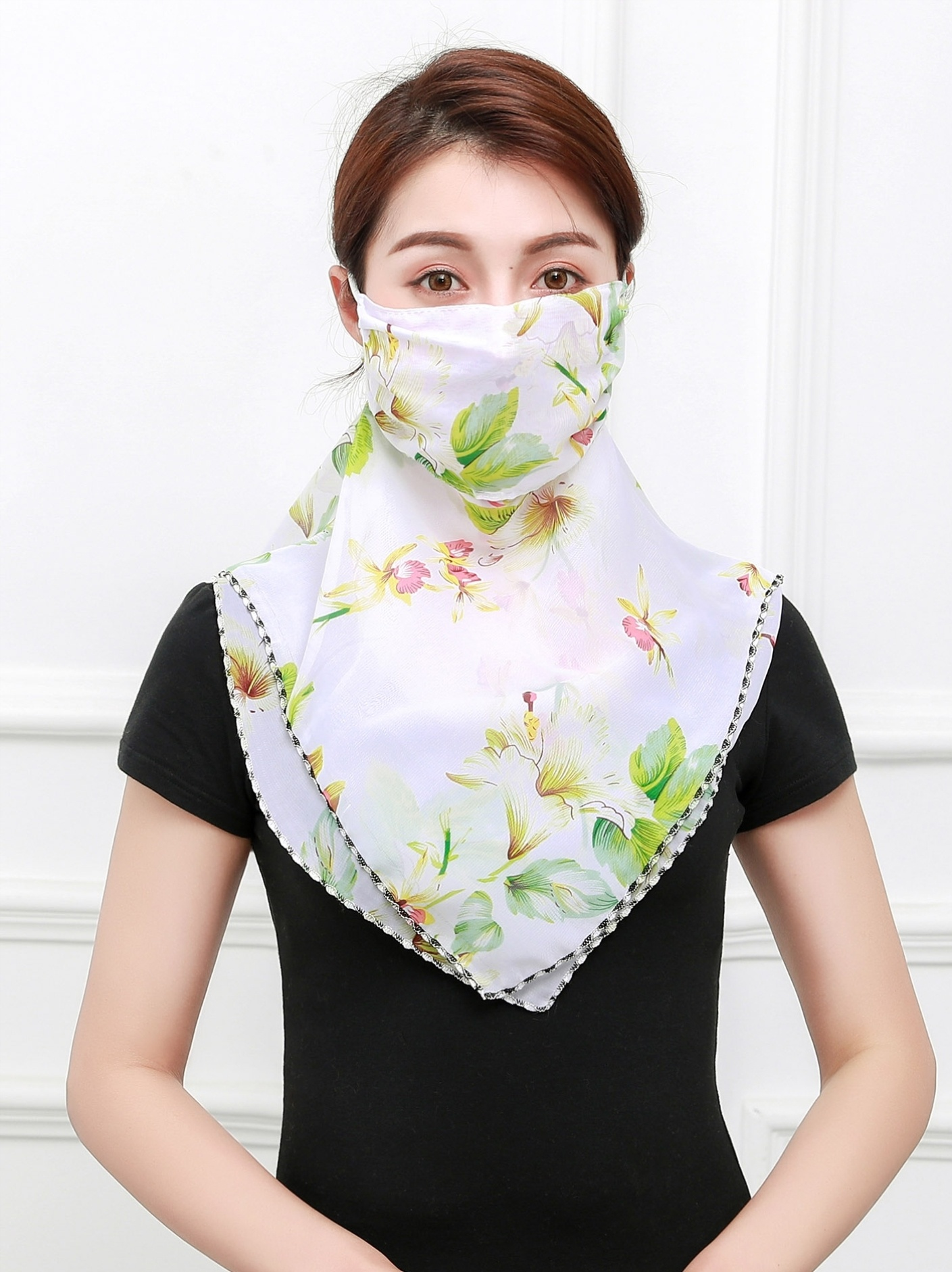 Sunscreen mask silk scarf integration, spring and autumn summer shawl anti ho travel mostly use mesh shirt scarf triangle ice surface