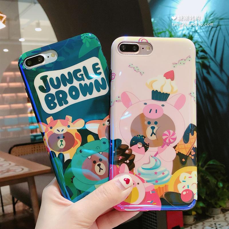 可爱韩国小熊苹果X卡通手机壳iphone7plus蓝光软壳6/6s/8全包女款