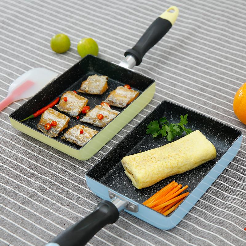 依膳食玉子燒鍋方形厚蛋燒雞蛋卷不粘平底鍋千層皮麥飯石日式煎鍋