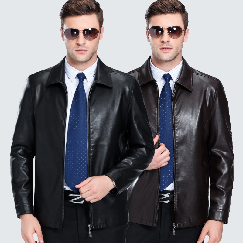 Mens wear Haining middle aged and old age leather jacket mens autumn and winter middle aged Lapel sheep leather jacket jacket fathers wear