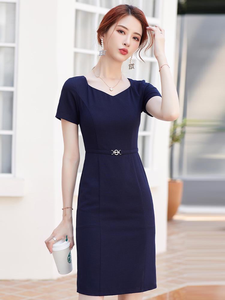 连衣裙女夏季新款时尚气质短袖ol珠宝店工作服美容院前台工装裙子