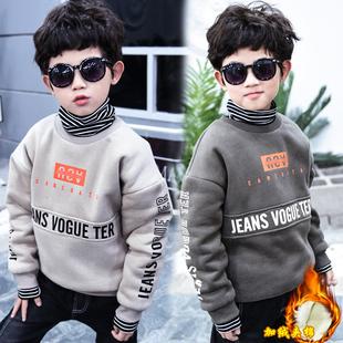 儿童内穿棉袄中大童男孩高领卫衣冬装 上衣 男童夹棉加绒卫衣19新款