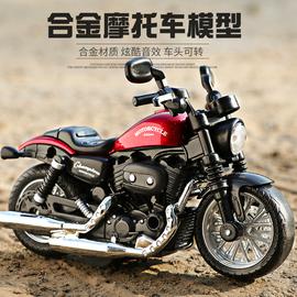 小摩托车玩具合金机车车模男孩仿真赛车模型儿童回力声光玩具车