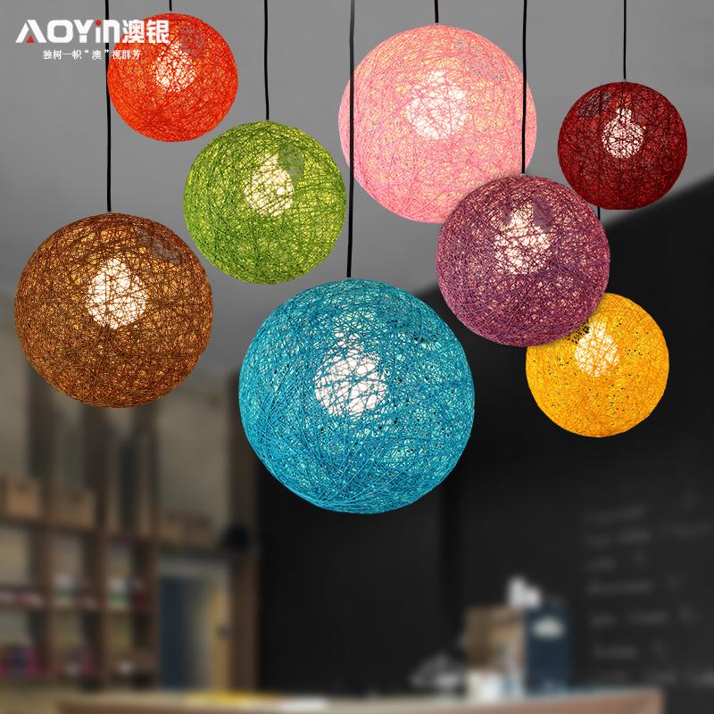 麻球吊燈藤藝圓球臥室燈 餐廳燈飾美式宜家吧台過道服裝店燈具