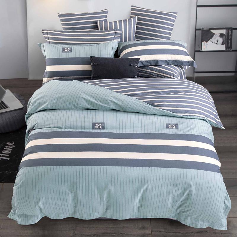 北欧四件套纯棉全棉1.8m床单被套被罩简约条纹被单三件套床上用品