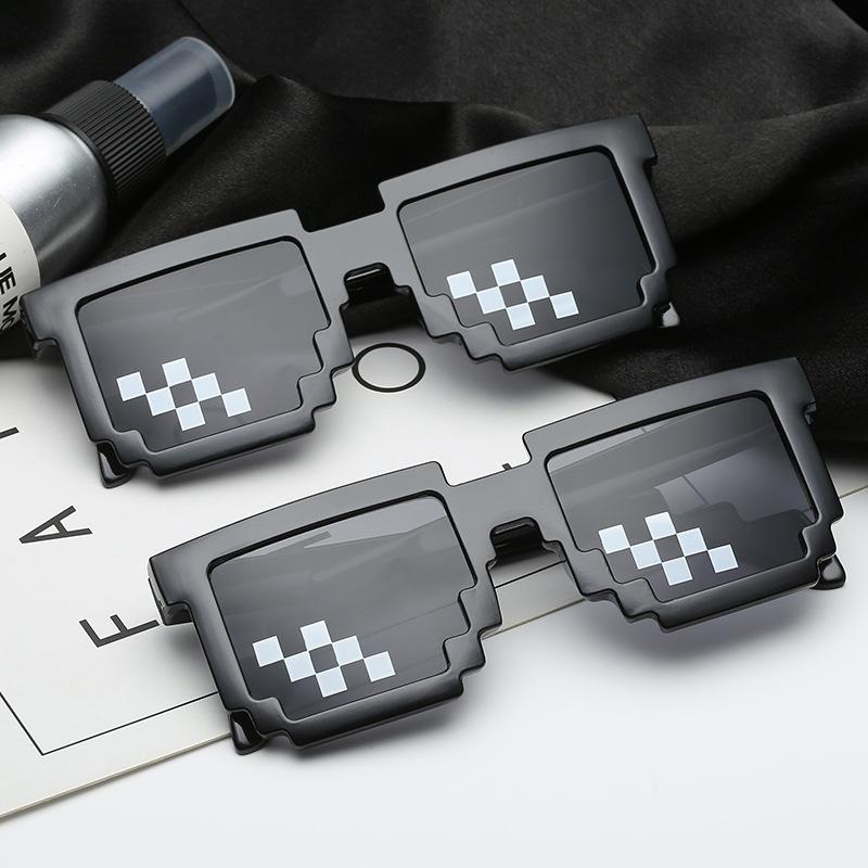 新款码赛克眼镜 二次元装逼神器墨镜 打码长方形像素个性太阳镜