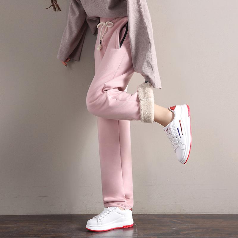冬季加绒加厚运动裤女士直筒休闲裤子宽松卫裤高腰保暖羊羔绒棉裤