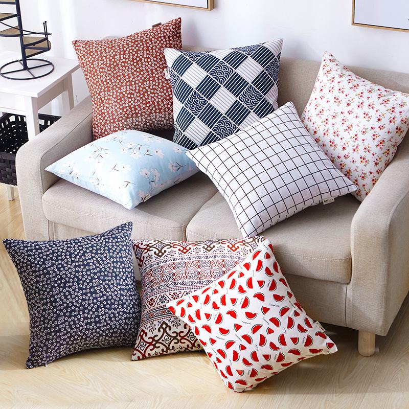 棉麻卡通方形抱枕套芯午休沙发抱枕买后点评
