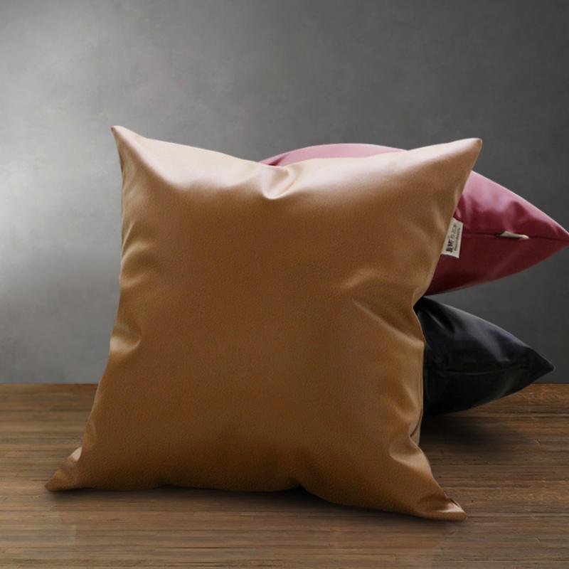 限时2件3折复古小羊纹pu皮质纯色仿皮靠垫抱枕