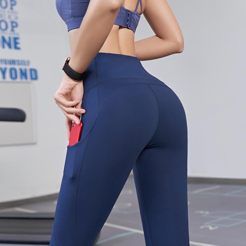 收腹高腰提臀运动裤女 弹力紧身瑜伽服秋冬款 无痕蜜桃健身裤外穿