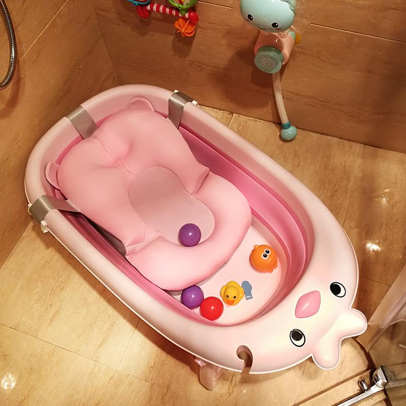 婴儿折叠沐浴盆宝宝洗澡盆加大号幼儿童小孩可坐躺通用新生儿用品