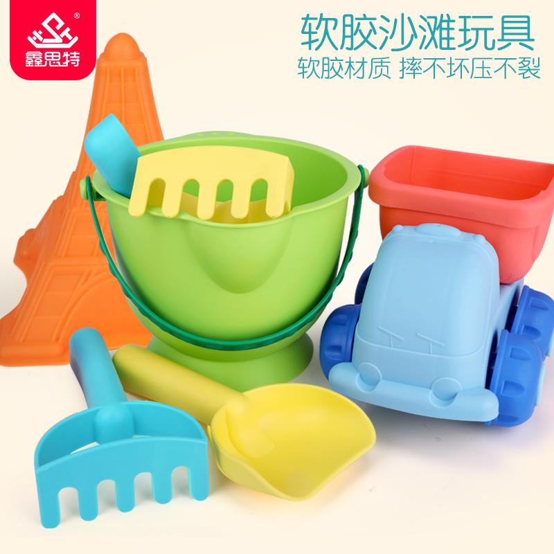 软胶儿童沙滩玩具车大号铲子桶套装宝宝男孩女孩洗澡玩沙挖沙工具买三送一