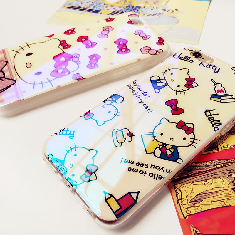 藍光kt貓手機殼iphone6 6Splus軟殼鐳射卡通保護套可愛矽膠套