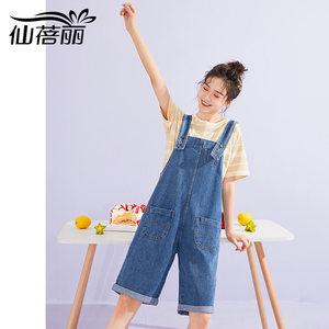 仙蓓丽牛仔背带裤女夏2020年新款韩版宽松学生五分裤短裤直筒潮