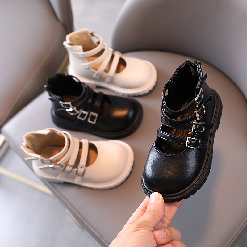Autumn 2021 new girls single shoes Korean high top metal button little princess shoes 1-3 years old flat bottom baby Roman shoes