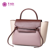Kstyle contrast catfish bag leather commuter handbag for work large capacity bag for women 2019 new wing bag
