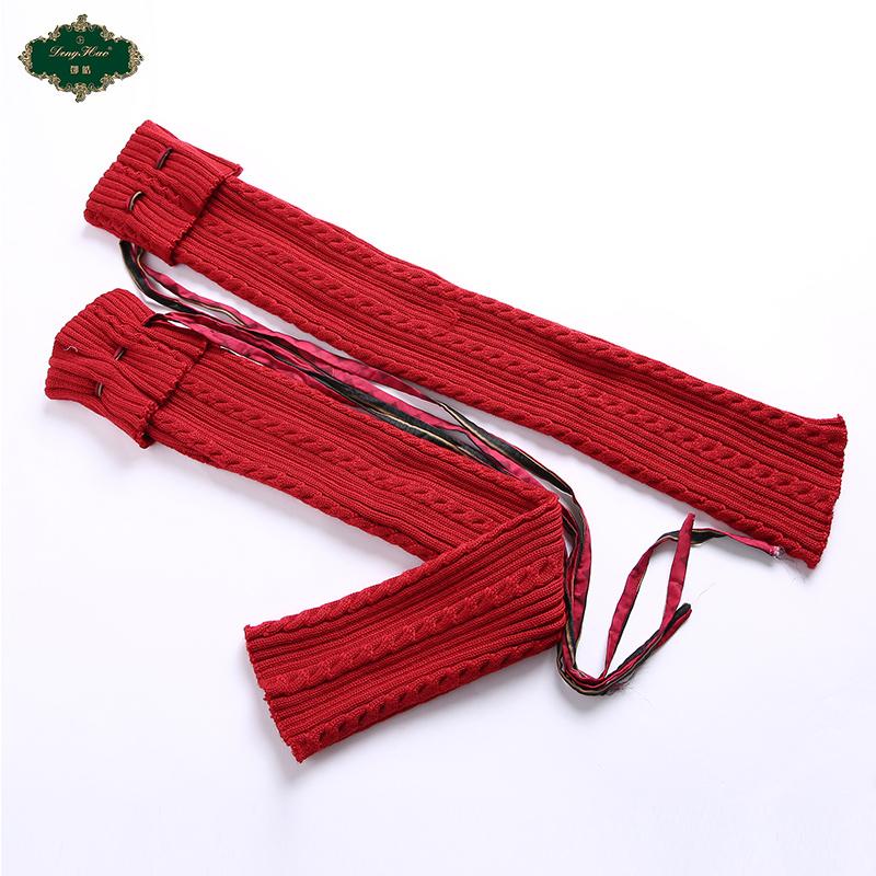邓皓保暖羊毛线厚针织麻花靴套宽松护膝脚踝鞋套系带针织袜筒