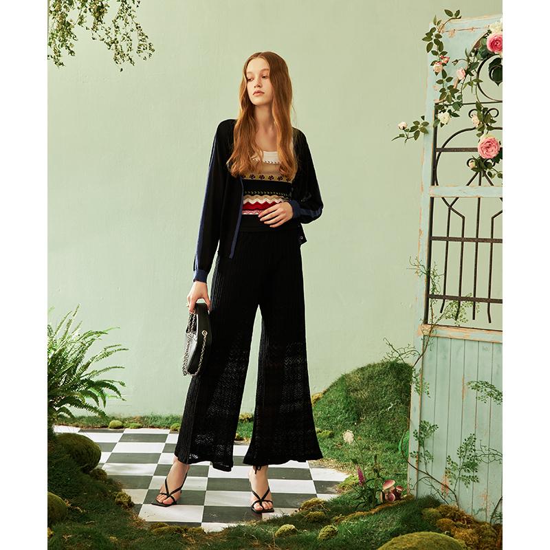 Deng Hao pants 2021 new womens high waist slim pants solid color hollow horn casual versatile pants womens summer