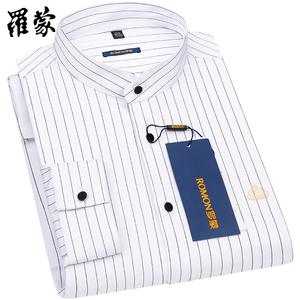 罗蒙立领衬衣男长袖白色条纹商务休闲装2021春中青年圆领免烫衬衫