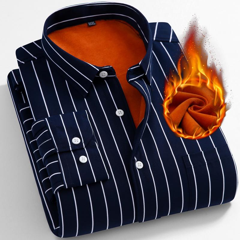 秋冬季条纹保暖衬衣男士长袖韩版青年衬衫加绒加厚款修身寸衫潮流