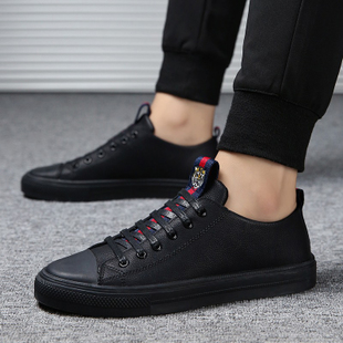 男鞋冬季潮鞋2019新款休闲鞋皮鞋男韩版潮流百搭板鞋男士黑色鞋子
