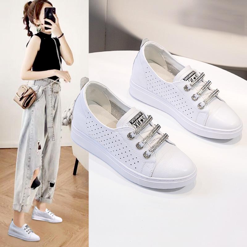 透气真皮内增高小白鞋女鞋2020新款夏季百搭爆款豆豆坡跟单鞋薄款