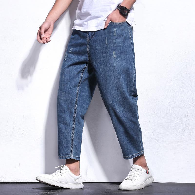 宽松九分男夏季超薄胖子嘻哈哈伦裤假一赔三