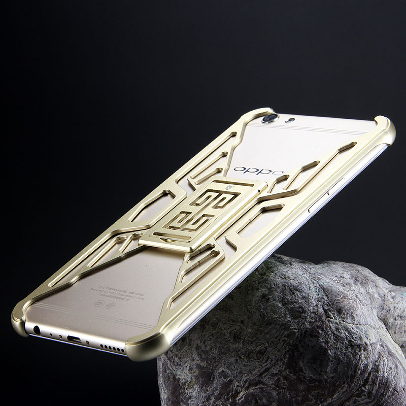 iy Metror Butterfly Aluminum Shell Shockproof Aerospace Metal Case Cover with Kickstand for OPPO R9s