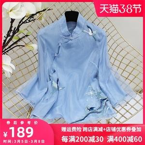 汉服夏装女复古风女装中式仙鹤刺绣欧根纱改良短款旗袍唐装上衣潮