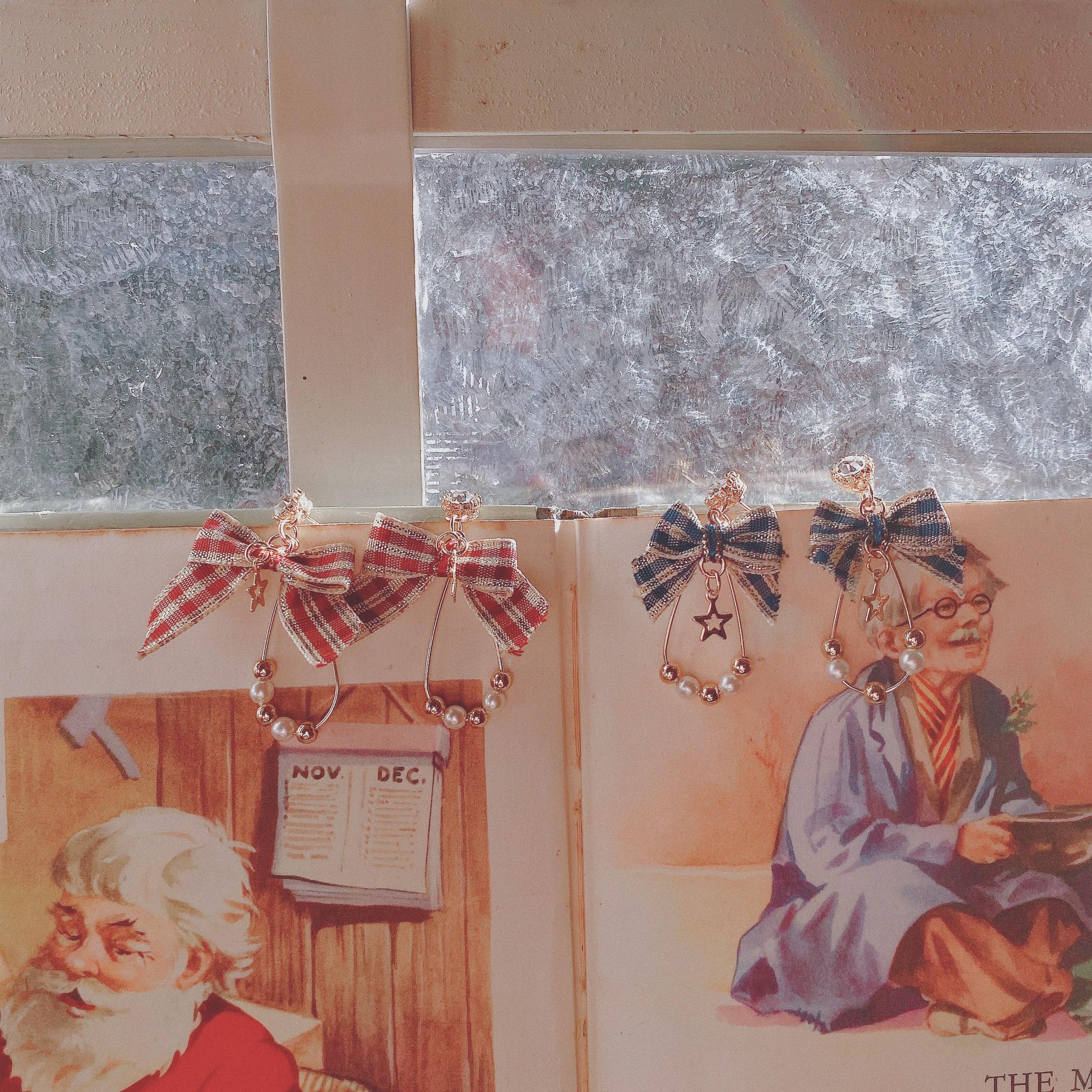 冰与火之歌。Early Sunset圣诞限定清新复古蝴蝶结缎带耳钉耳夹女图片
