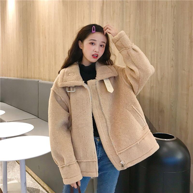 羊羔绒棉服女2018新款韩版chic宽松加厚羊羔毛机车棉衣外套冬短款