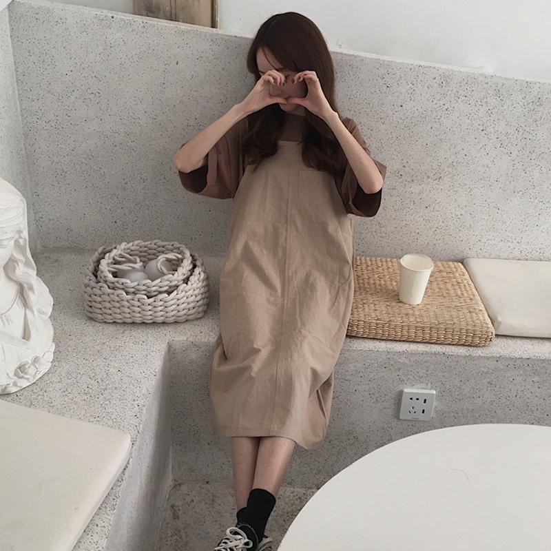 夏装女装2018新款韩国短袖T恤+学生背带裙宽松中长款连衣裙两件套