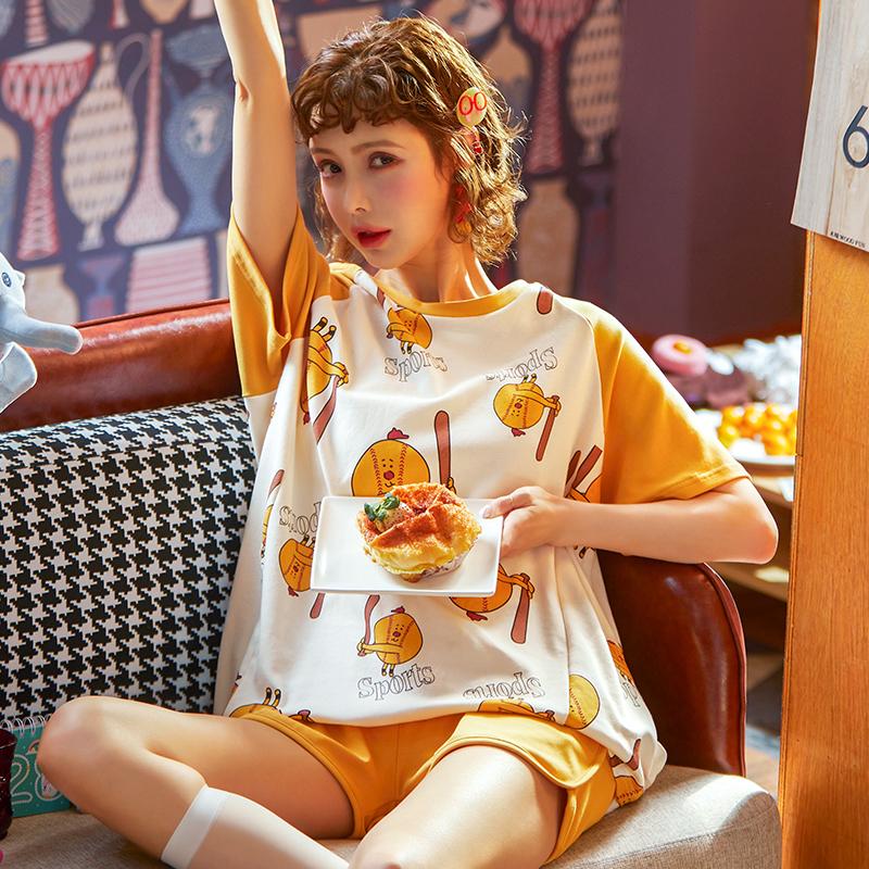 睡衣女生春夏薄款起居服套装清新简约森女纯色棉质家居服可爱出门