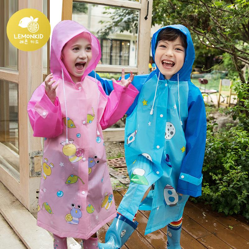 柠檬宝宝防水时尚新款可爱卡通男女儿童雨披小孩雨衣宝宝可爱五
