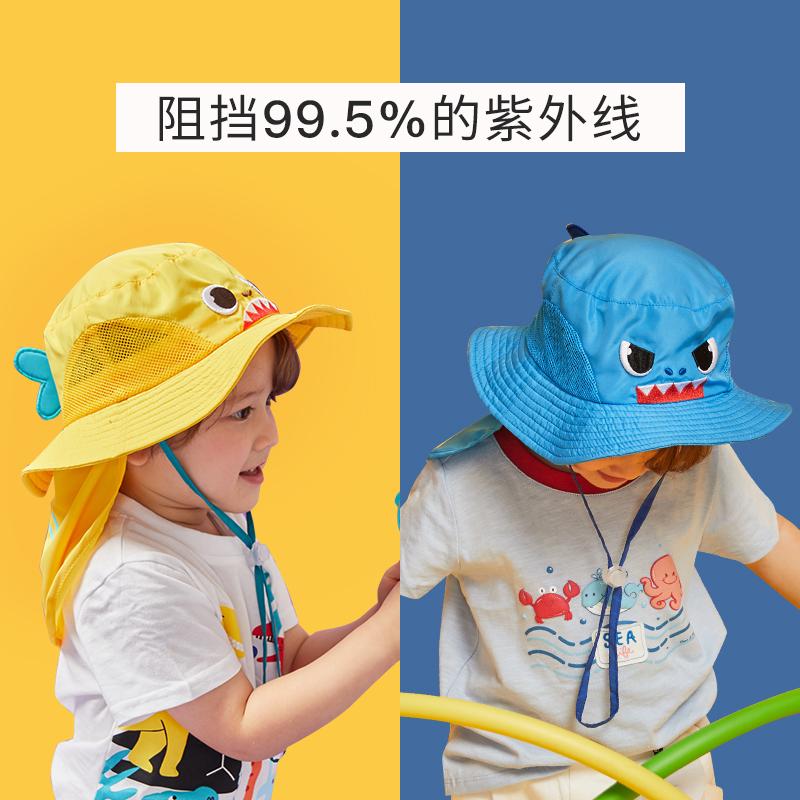 儿童防晒帽夏男女童防紫外线遮阳宝宝帽子春秋薄款渔夫帽盆帽婴儿图片