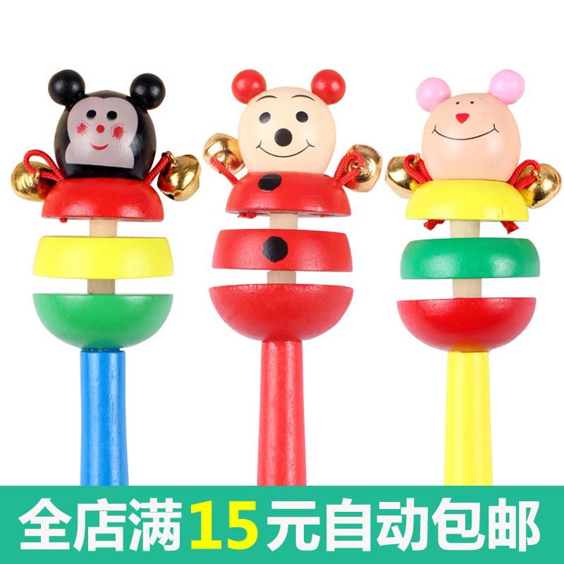 宝宝摇铃玩具木制手摇铃铛0-1岁婴儿锻炼抓握安抚玩具幼儿童响铃