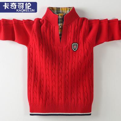 男童毛衣加绒加厚冬季高领儿童针织衫红色洋气男孩中大童厚款韩版
