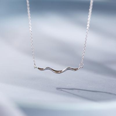 @小麋人 海岸线波浪艺术感文艺复古简约设计S925纯银项链锁骨链女