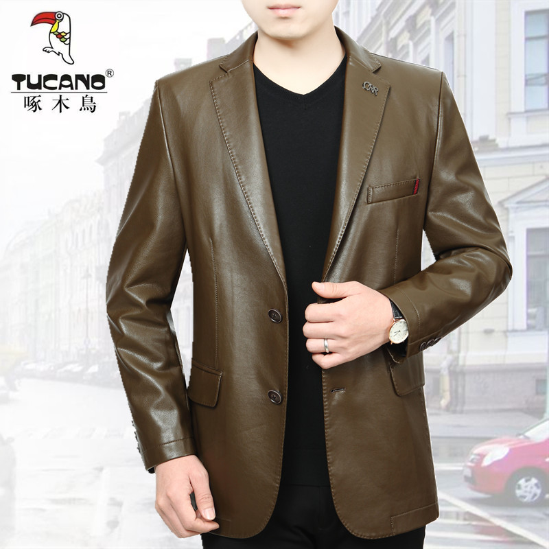 Woodpecker leather suit mens new slim fit Korean version handsome Haining pick up leakage middle-aged leather suit coat trend