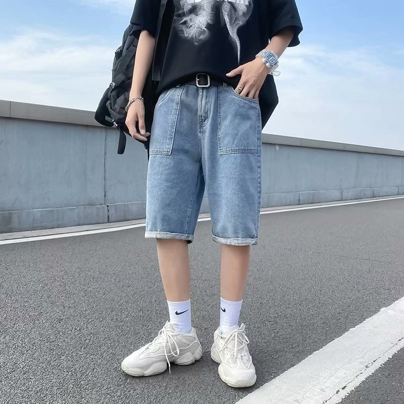 Youth Popular mid low waist casual mens loose straight pants summer lazy no bounce washed jeans