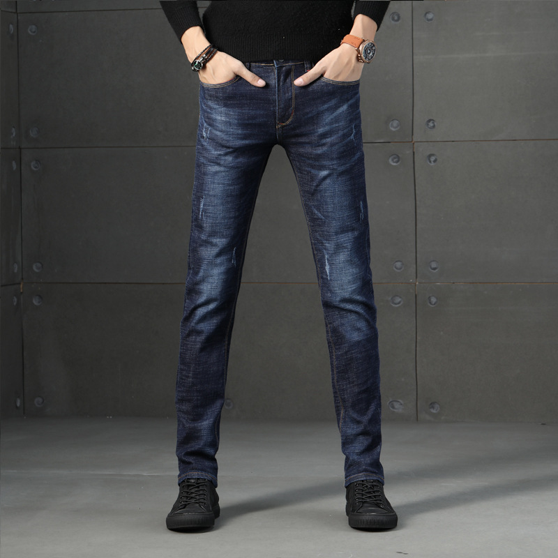 2021 spring new jeans young mens slim Leggings mens spring and autumn trend leisure elastic pants