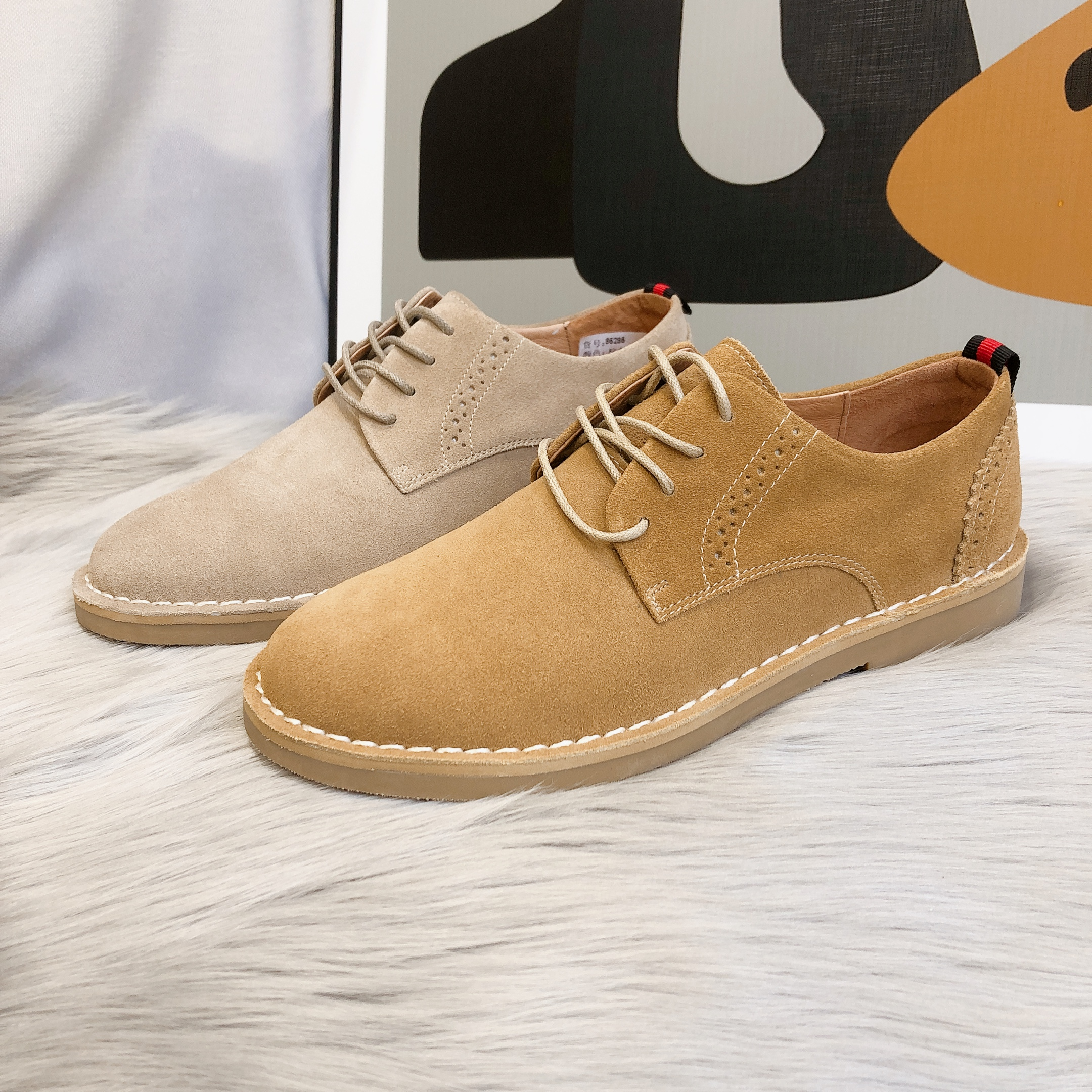 Nubuck leather work wear shoes mens fashion 2020 new casual versatile lace up leather shoes British retro Oxford Shoes yellow